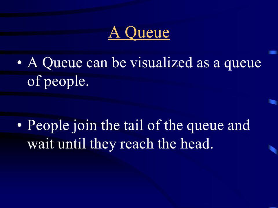 A Queue A Queue can be visualized as a queue of people.