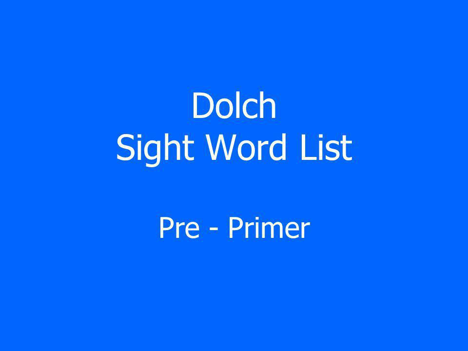 Dolch Sight Word List Primer