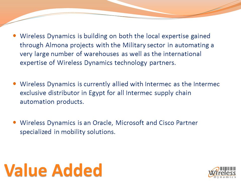 Wireless Dynamics is building on both the local expertise gained through Almona projects with the Military sector in automating a very large number of