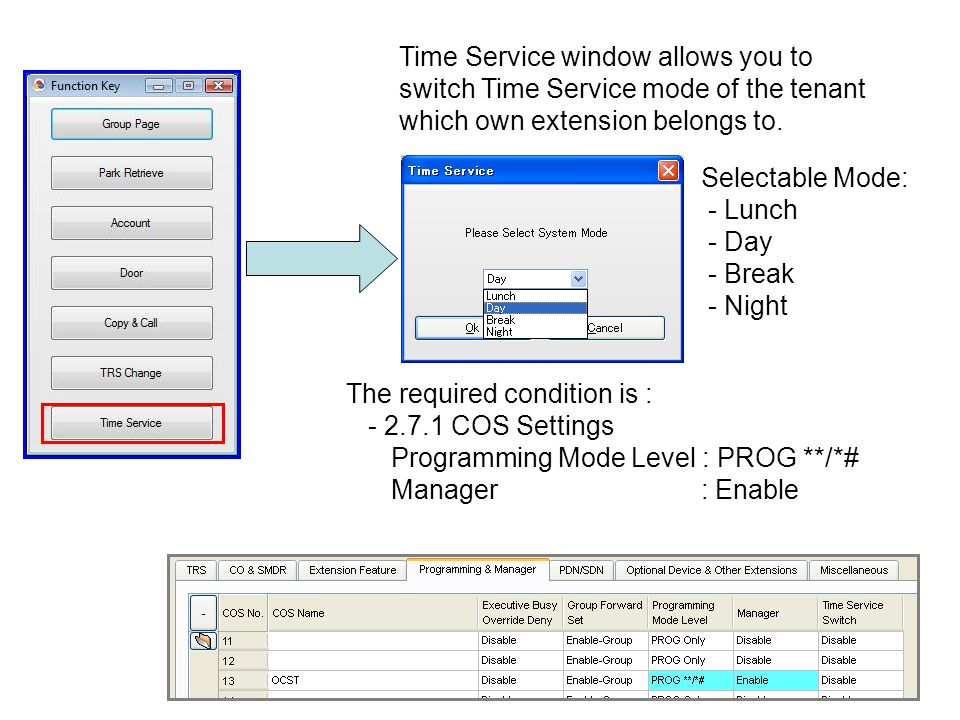 Time Service window allows you to switch Time Service mode of the tenant which own extension belongs to. Selectable Mode: - Lunch - Day - Break - Nigh