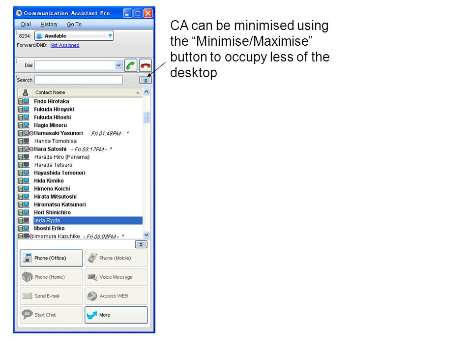 CA can be minimised using the Minimise/Maximise button to occupy less of the desktop
