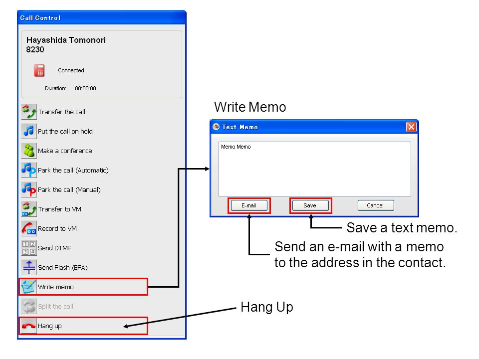 Hang Up Send an e-mail with a memo to the address in the contact. Save a text memo. Write Memo
