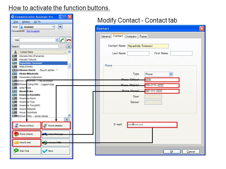How to activate the function buttons. Modify Contact - Contact tab