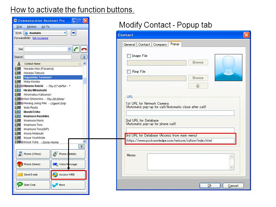 How to activate the function buttons. Modify Contact - Popup tab