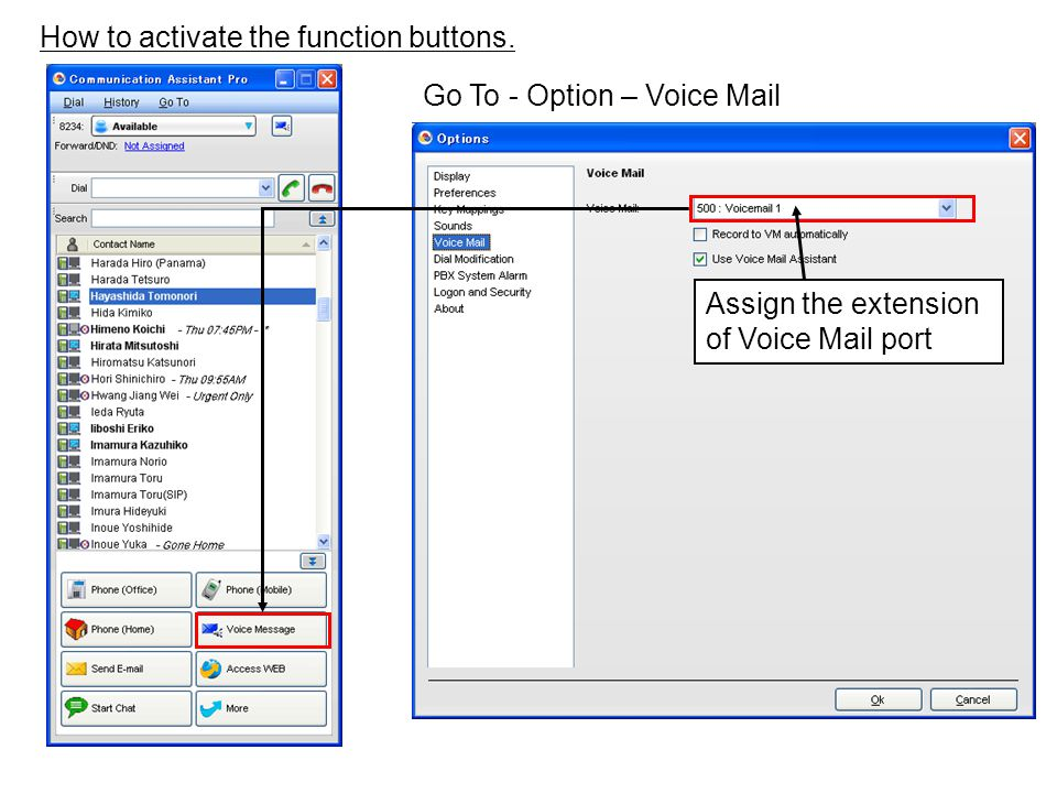 How to activate the function buttons. Go To - Option – Voice Mail Assign the extension of Voice Mail port