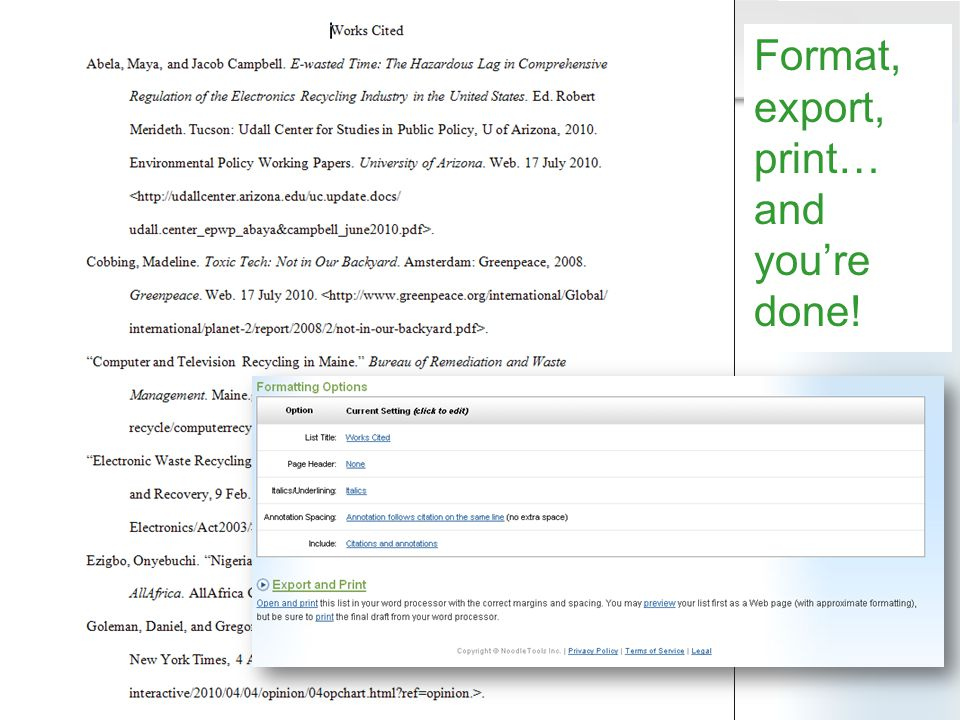 Format, export, print… and youre done!