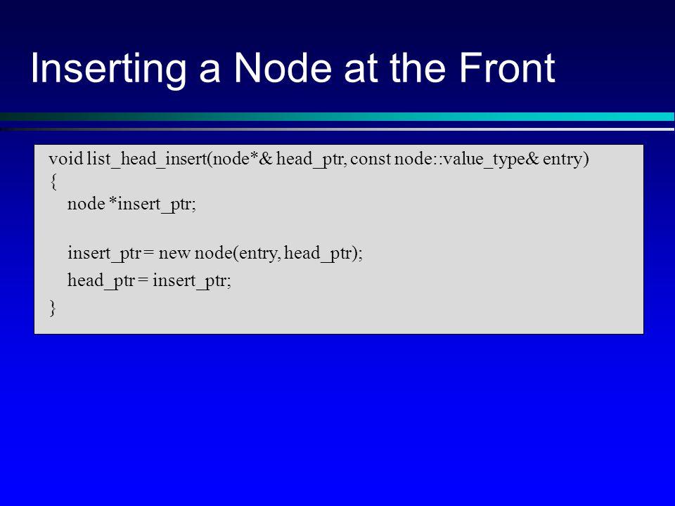 void list_head_insert(node*& head_ptr, const node::value_type& entry) { node *insert_ptr; insert_ptr = new node(entry, head_ptr); head_ptr = insert_ptr; } Inserting a Node at the Front