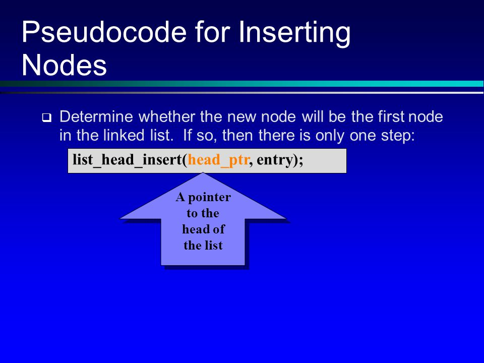 Pseudocode for Inserting Nodes Determine whether the new node will be the first node in the linked list.