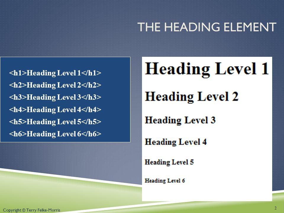 THE HEADING ELEMENT Heading Level 1 Heading Level 2 Heading Level 3 Heading Level 4 Heading Level 5 Heading Level 6 2