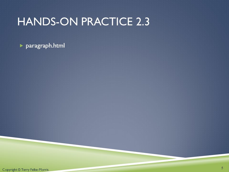 Copyright © Terry Felke-Morris HANDS-ON PRACTICE 2.3 paragraph.html 5