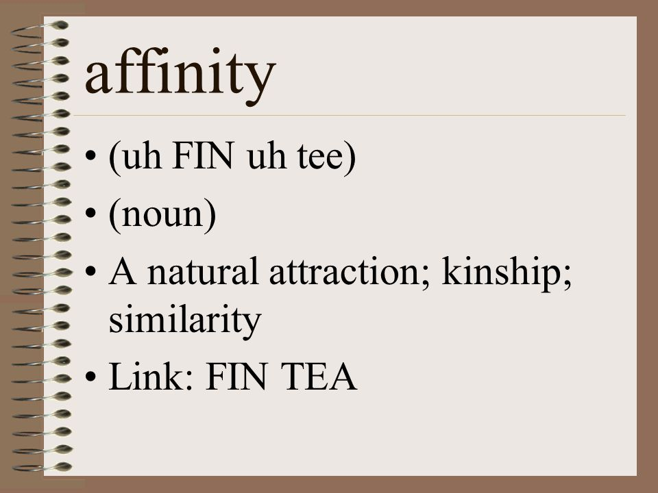 affinity (uh FIN uh tee) (noun) A natural attraction; kinship; similarity Link: FIN TEA