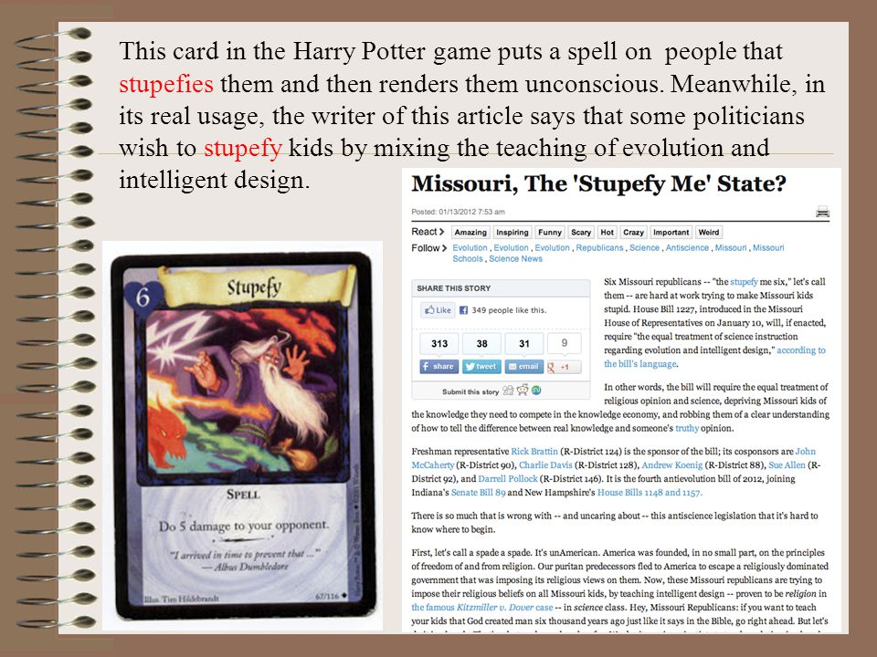 This card in the Harry Potter game puts a spell on people that stupefies them and then renders them unconscious.