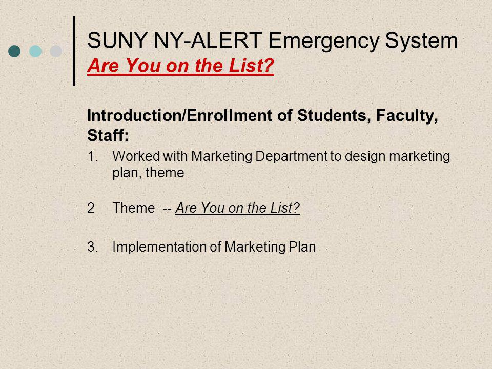 SUNY NY-ALERT Emergency System Are You on the List? Introduction/Enrollment of Students, Faculty, Staff: 1.Worked with Marketing Department to design
