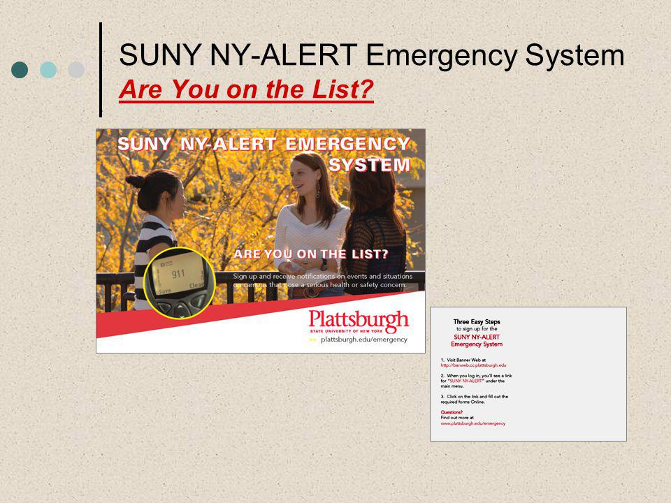 Marketing Plan: Emails (weekly to students, faculty, staff) Posters – Residence Halls, College Center, Academic/Administrative Buildings Postcards Tabling (wireless laptop computers in Angell College Center connected to Banner Web) Forum for faculty, staff, students – Mid November (Discuss campus emergency management procedures)