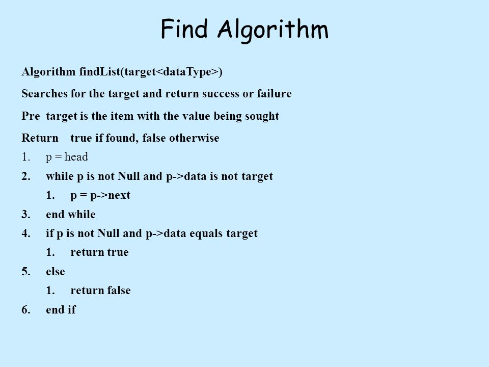 Find Algorithm Algorithm findList(target ) Searches for the target and return success or failure Pretarget is the item with the value being sought Returntrue if found, false otherwise 1.p = head 2.while p is not Null and p->data is not target 1.p = p->next 3.end while 4.if p is not Null and p->data equals target 1.return true 5.else 1.return false 6.end if