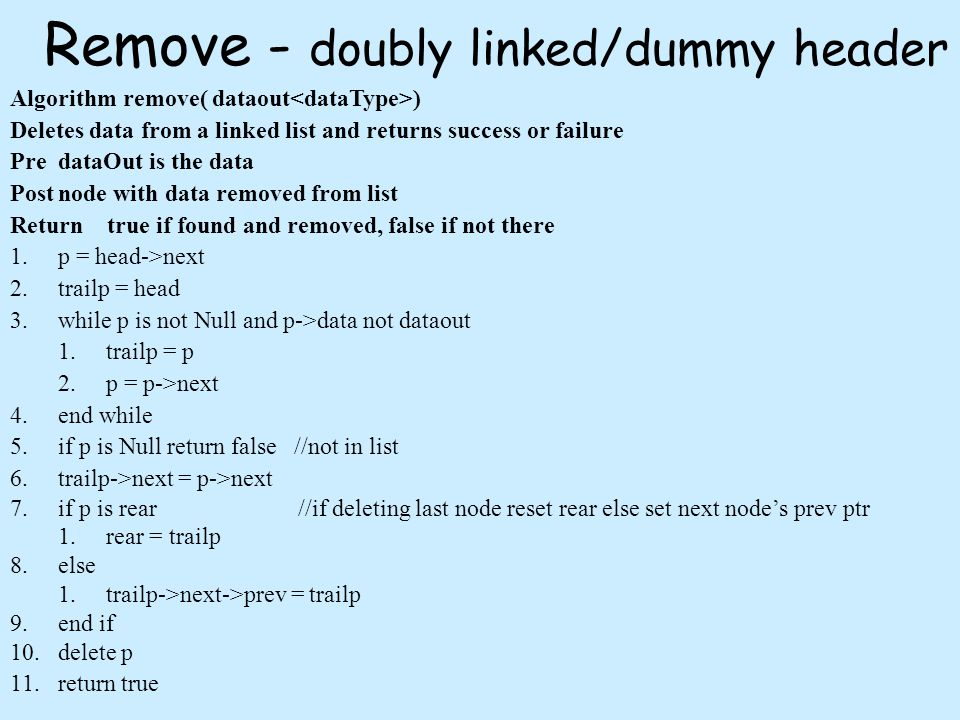 Remove - doubly linked/dummy header Algorithm remove( dataout ) Deletes data from a linked list and returns success or failure PredataOut is the data Postnode with data removed from list Return true if found and removed, false if not there 1.p = head->next 2.trailp = head 3.while p is not Null and p->data not dataout 1.trailp = p 2.p = p->next 4.end while 5.if p is Null return false //not in list 6.trailp->next = p->next 7.if p is rear//if deleting last node reset rear else set next nodes prev ptr 1.rear = trailp 8.else 1.trailp->next->prev = trailp 9.end if 10.delete p 11.return true