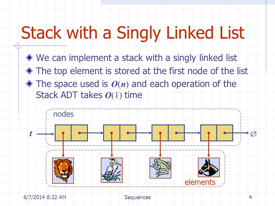 6/7/2014 8:24 AMSequences4 Stack with a Singly Linked List We can implement a stack with a singly linked list The top element is stored at the first node of the list The space used is O(n) and each operation of the Stack ADT takes O(1) time t nodes elements