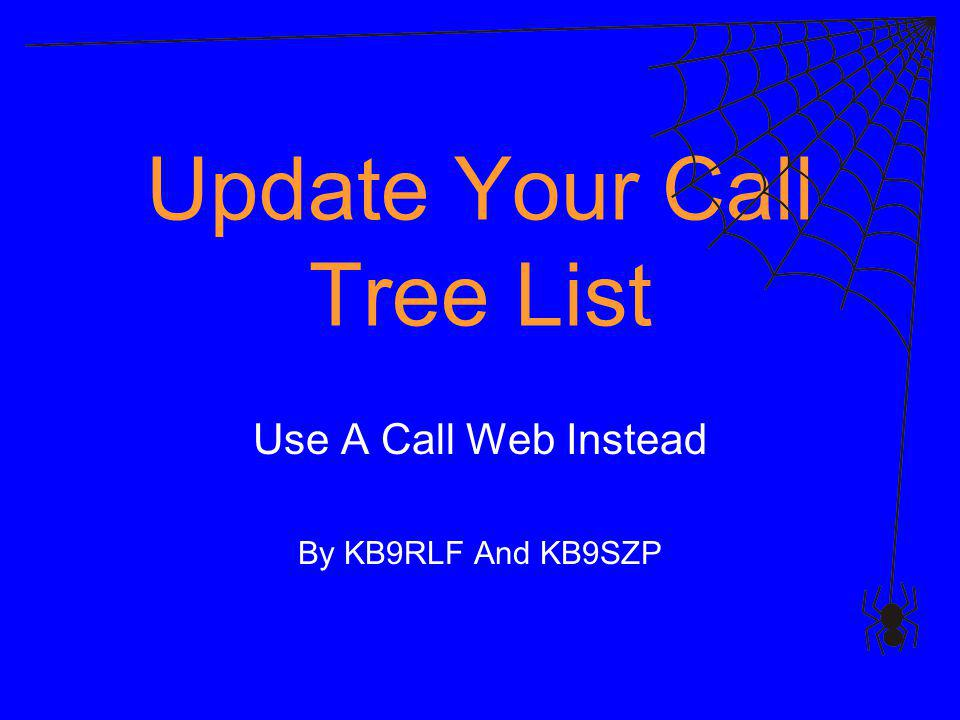 Update Your Call Tree List Use A Call Web Instead By KB9RLF And KB9SZP