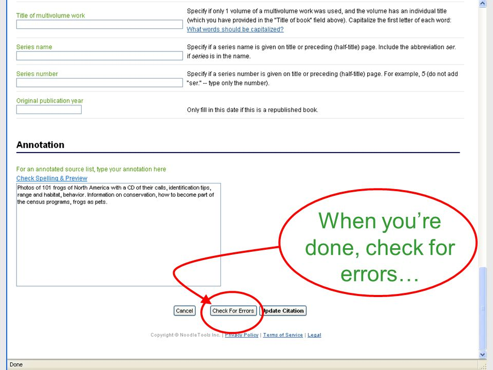 When youre done, check for errors…