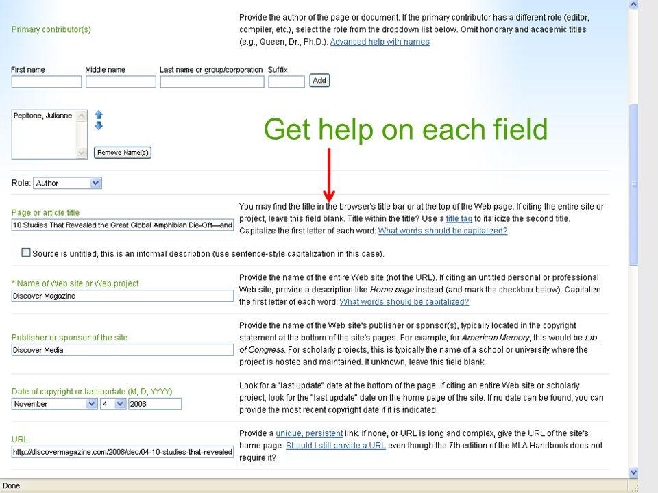 Get help on each field
