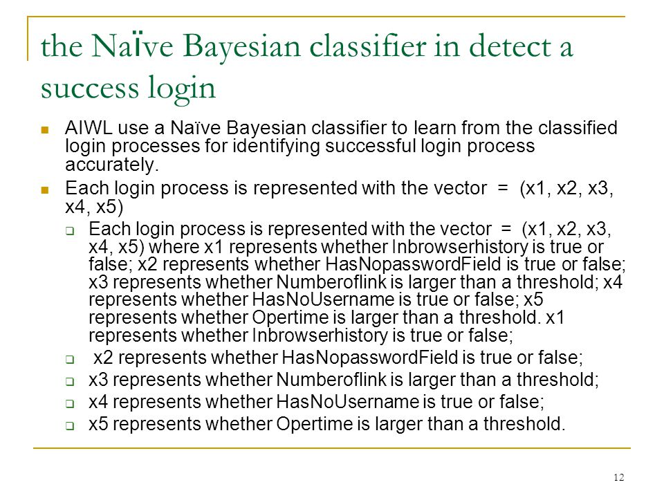 13 the Na ï ve Bayesian classifier in detect a success login