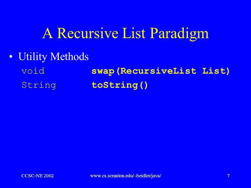 CCSC-NE 2002www.cs.scranton.edu/~beidler/java/7 A Recursive List Paradigm Utility Methods void swap(RecursiveList List) String toString()