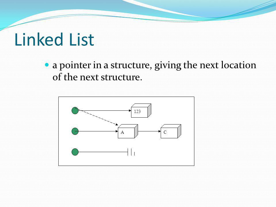 Linked List Using Array Older and widely used computer language (COBOL, Fortran, BASIC) do not provide facilities for dynamic storage allocation (pointers) Workspace (several arrays hold different part of a logical record) is used for programming languages which do not support records.