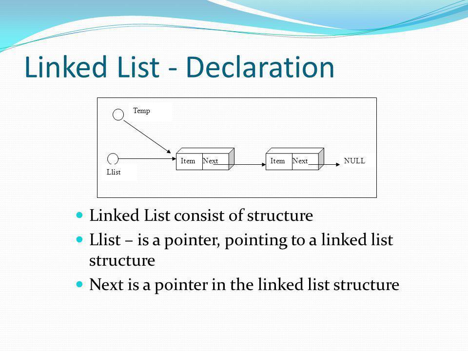 Structure Declaration typedef char item; typedef struct node{ item data; struct node *next; } Node;