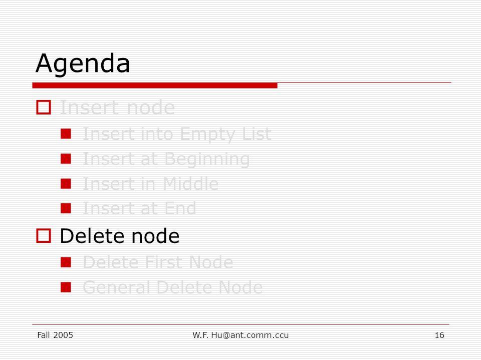 Fall 2005W.F.Hu@ant.comm.ccu17 Delete node (1/2) Delete node : locate the node first.