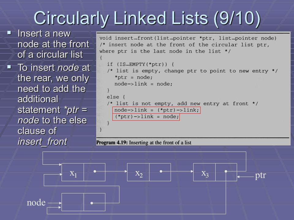 Circularly Linked Lists (9/10) x1x1 x2x2 x3x3 ptr node Insert a new node at the front of a circular list Insert a new node at the front of a circular list To insert node at the rear, we only need to add the additional statement *ptr = node to the else clause of insert_front To insert node at the rear, we only need to add the additional statement *ptr = node to the else clause of insert_front