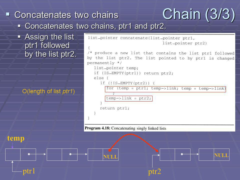Chain (3/3) Concatenates two chains Concatenates two chains Concatenates two chains, ptr1 and ptr2.