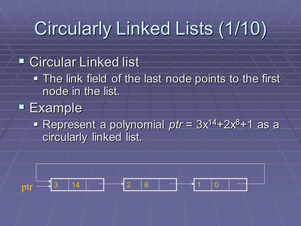 Circularly Linked Lists (1/10) Circular Linked list Circular Linked list The link field of the last node points to the first node in the list.