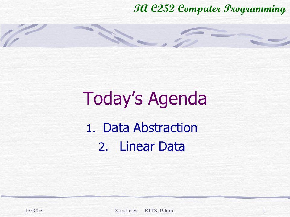 TA C252 Computer Programming 13/8/03Sundar B. BITS, Pilani.1 Todays Agenda 1.