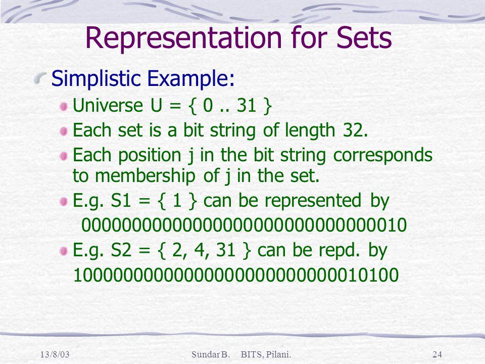 13/8/03Sundar B. BITS, Pilani.24 Representation for Sets Simplistic Example: Universe U = { 0..
