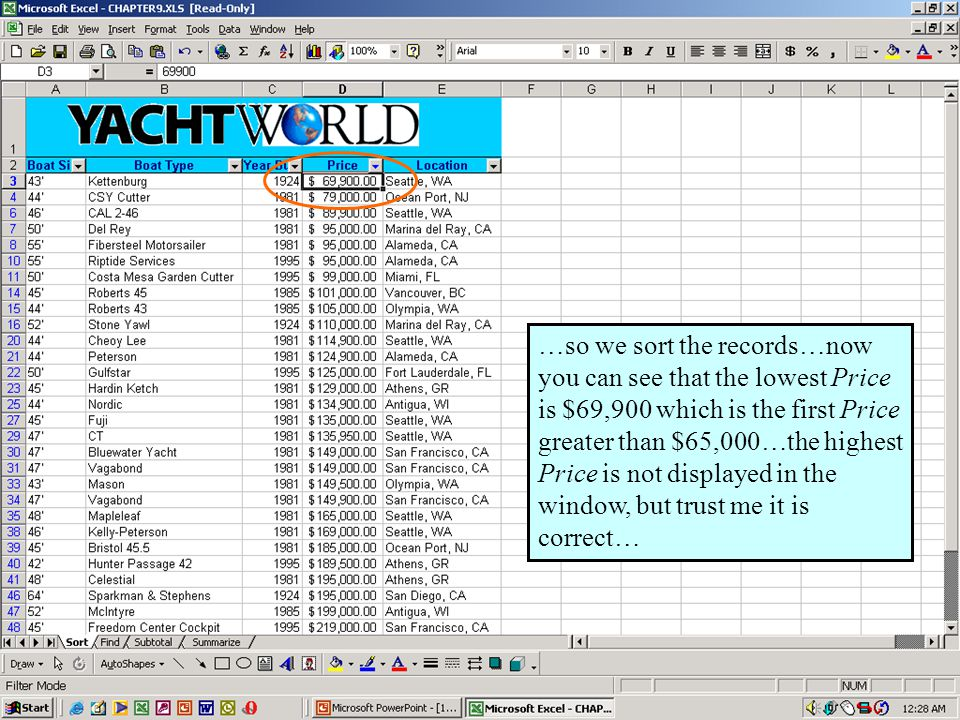 Further Adventures in Excel 200024 …so we sort the records…now you can see that the lowest Price is $69,900 which is the first Price greater than $65,000…the highest Price is not displayed in the window, but trust me it is correct…