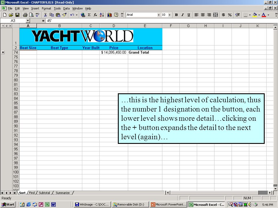Further Adventures in Excel 200031 …this is the highest level of calculation, thus the number 1 designation on the button, each lower level shows more detail…clicking on the + button expands the detail to the next level (again)…
