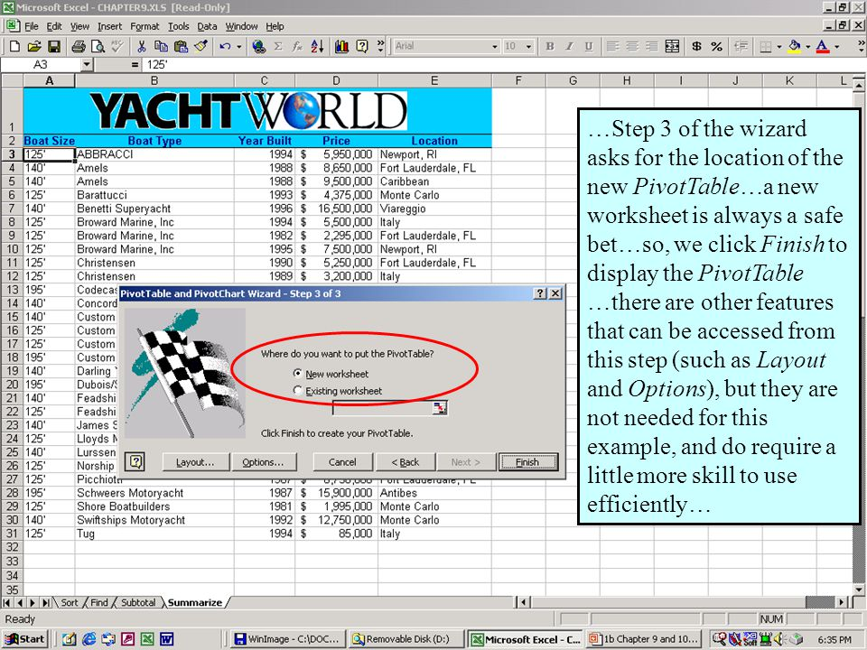 Further Adventures in Excel 200037 …Step 3 of the wizard asks for the location of the new PivotTable…a new worksheet is always a safe bet…so, we click Finish to display the PivotTable …there are other features that can be accessed from this step (such as Layout and Options), but they are not needed for this example, and do require a little more skill to use efficiently…