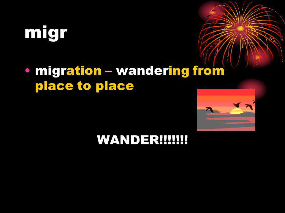 migr migration – wandering from place to place WANDER!!!!!!!