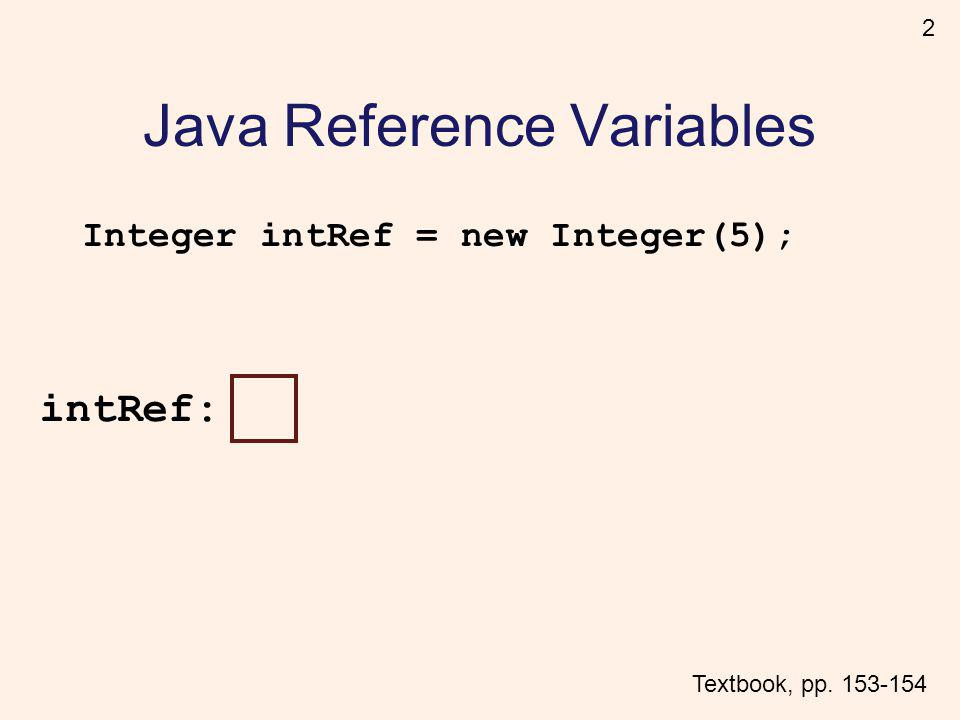 2 Java Reference Variables Integer intRef = new Integer(5); intRef: Textbook, pp. 153-154
