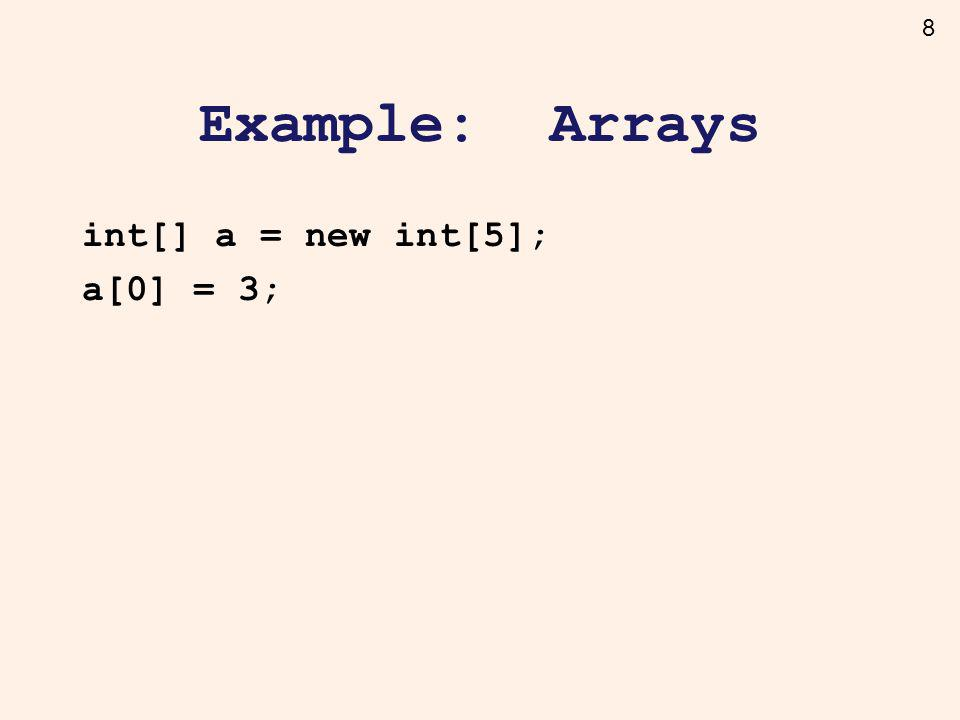 8 Example: Arrays int[] a = new int[5]; a[0] = 3;