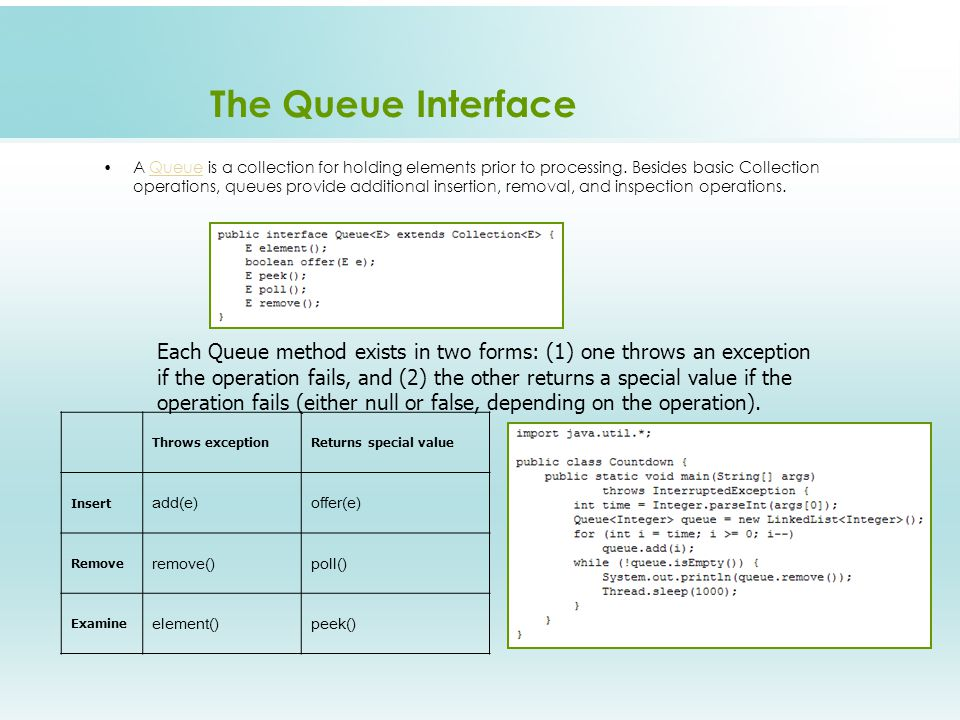 The Queue Interface Throws exceptionReturns special value Insert add(e)offer(e) Remove remove()poll() Examine element()peek() A Queue is a collection for holding elements prior to processing.