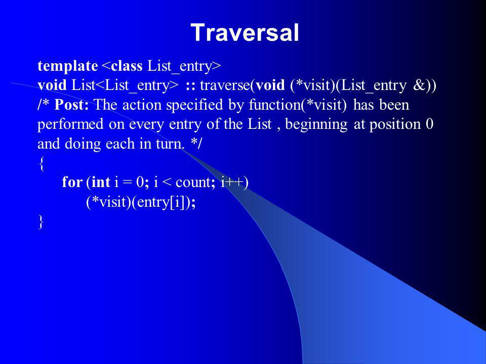 Traversal template void List :: traverse(void (*visit)(List_entry &)) /* Post: The action specified by function(*visit) has been performed on every en