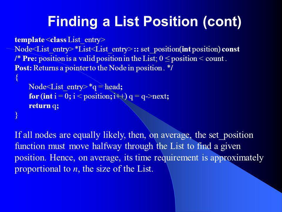 Finding a List Position (cont) template Node *List :: set_position(int position) const /* Pre: position is a valid position in the List; 0 position < count.