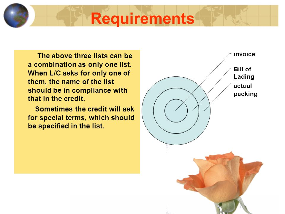 Requirements The above three lists can be a combination as only one list.