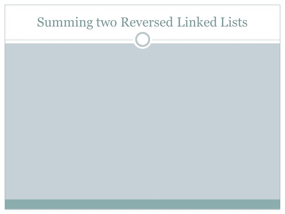 Summing two Reversed Linked Lists