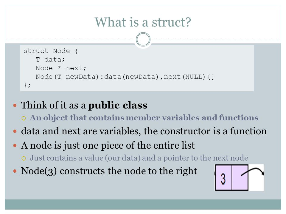 What is a struct? Think of it as a public class An object that contains member variables and functions data and next are variables, the constructor is