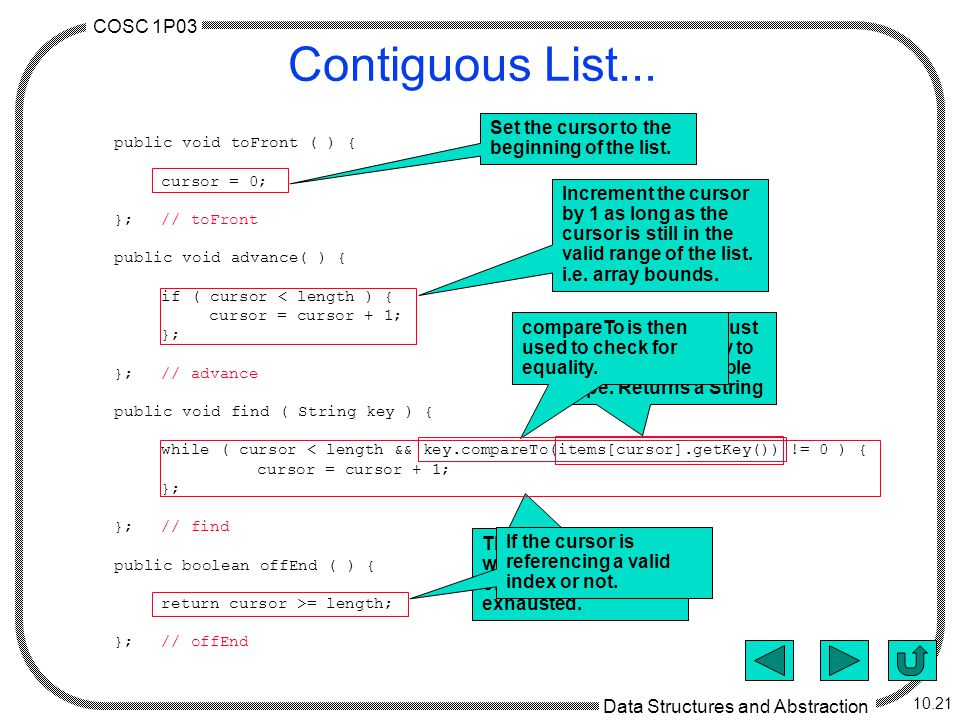 COSC 1P03 Data Structures and Abstraction 10.21 Contiguous List...