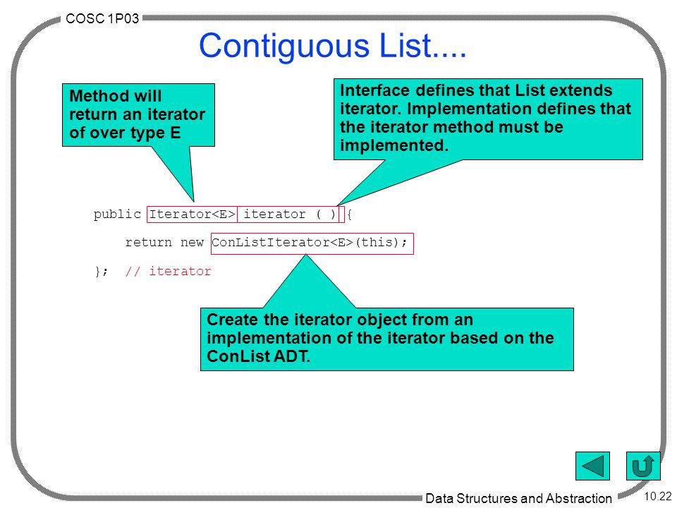 COSC 1P03 Data Structures and Abstraction 10.22 Contiguous List....