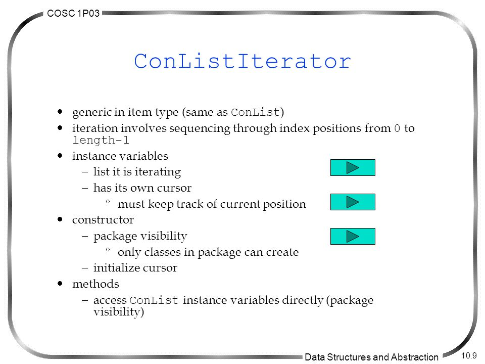 COSC 1P03 Data Structures and Abstraction 10.9 ConListIterator generic in item type (same as ConList ) iteration involves sequencing through index positions from 0 to length-1 instance variables list it is iterating has its own cursor must keep track of current position constructor package visibility only classes in package can create initialize cursor methods access ConList instance variables directly (package visibility)