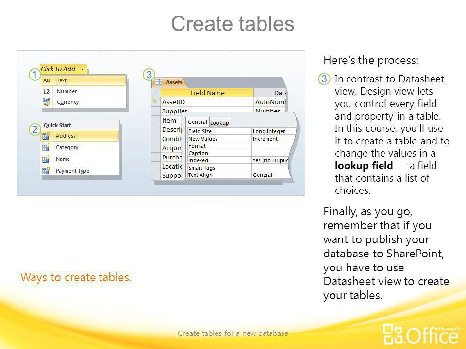 Create tables Create tables for a new database Ways to create tables. Heres the process: In contrast to Datasheet view, Design view lets you control e